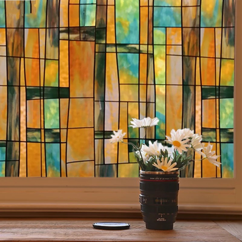 Art Painted Privacy Window Film Glue Free Glass Sticker Film Static Opaque Stained Bathroom Office Door Home Decorative PVC Film