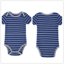 Autumn 1 Piece Cotton Style Baby Girl Boy Clothes Short Sleeve Blue New Born Body Baby Ropa Striped Pink Baby Bodysuit r031