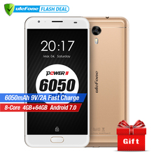 Original Ulefone Power 2 Smartphone 5.5″ FHD MTK6750T Octa Core Android 7.0 4GB+64GB 16MP 6050mAh Big Battery 4G mobile phone