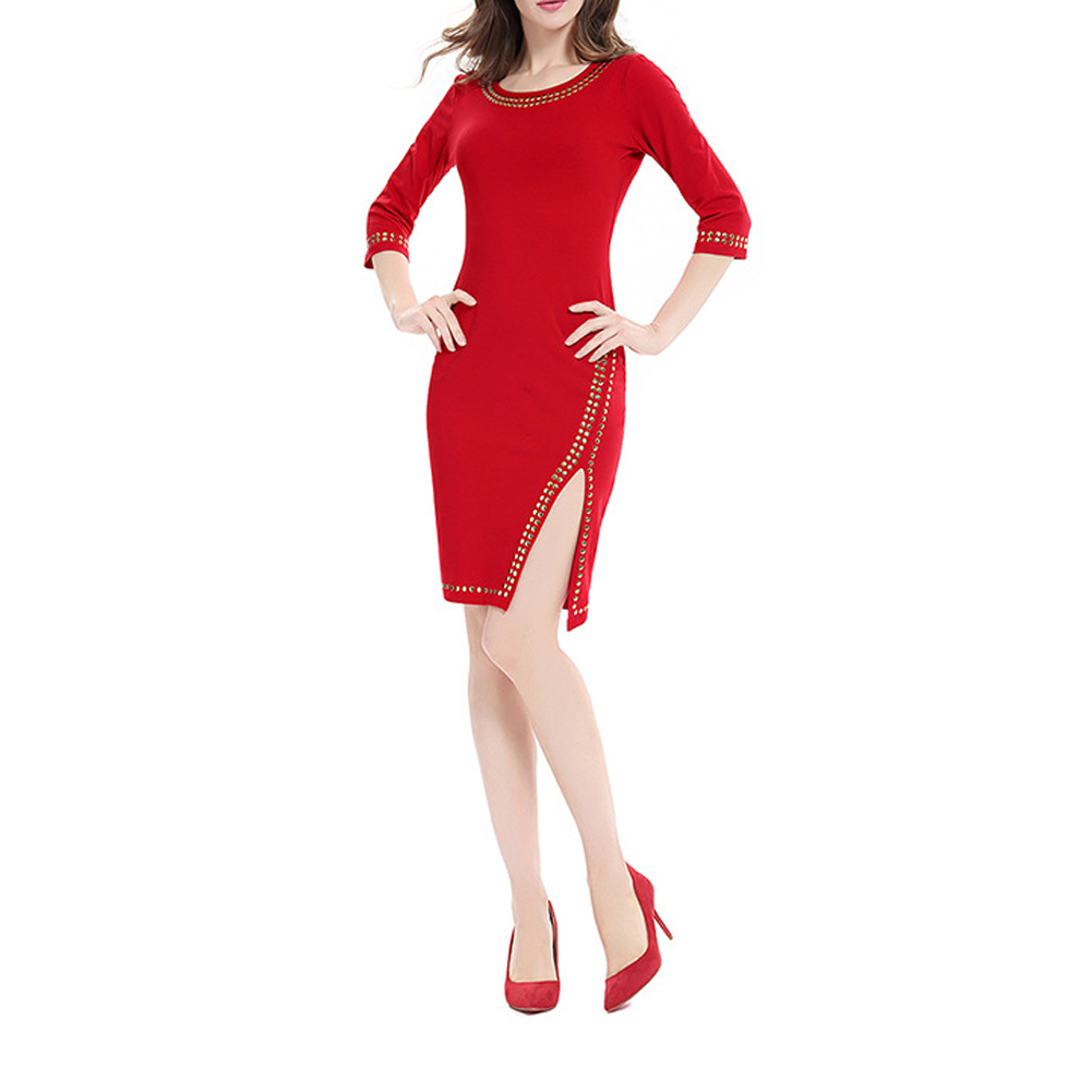 Women's O Neck 3/4 Sleeves Slim Fit Dress Side Split Evening Party Knee-Length Pencil Dresses FS99