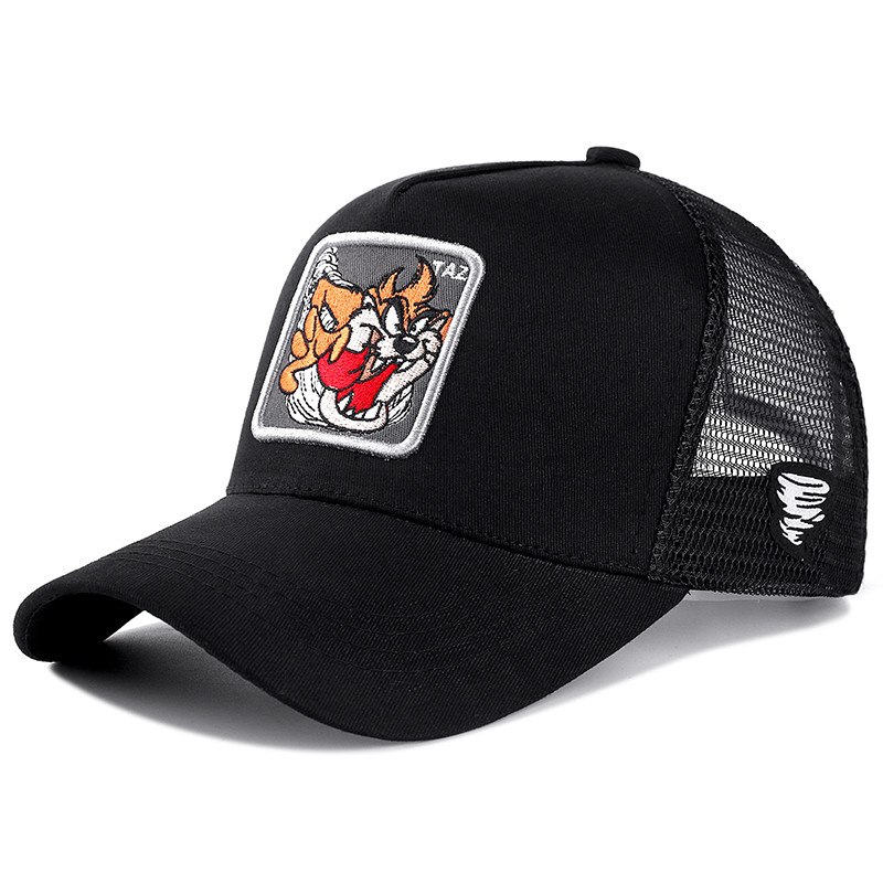 New Brand Anime Cartoon Snapback Cap TAZ Black/Gray Embroidered Cotton Baseball Cap Men Women Hip Hop Dad Hat Trucker Mesh Hat