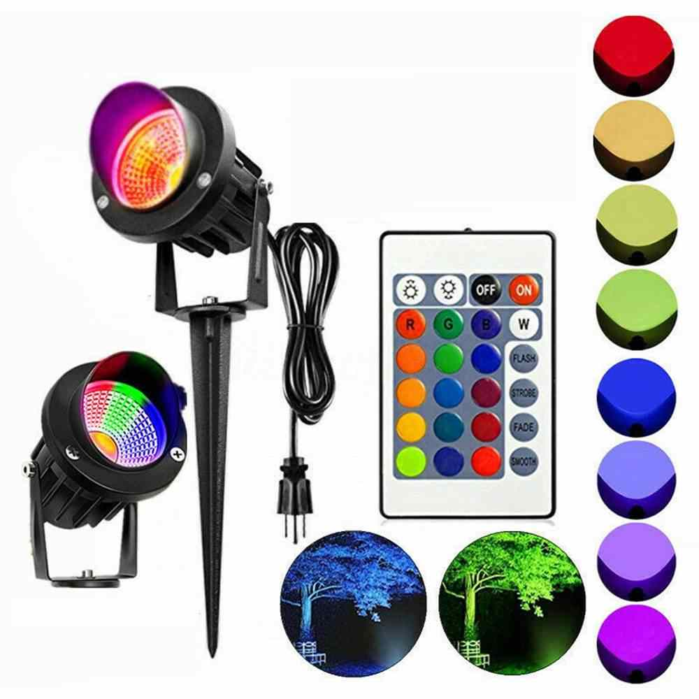AC85-265V 10W RGB garden fairy light projector LED Lawn Light Waterproof IP65 Outdoor Landscape Spot Lamp with remote EU/US Plug