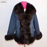 Linhaoshengyue 2017 NEW HOT women Denim fabric coat women winter warm coat fox fur collar