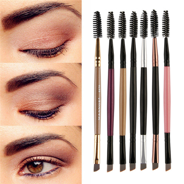 MAANGE brocha de maquillaje para cejas con mango de madera de doble cara cejas pinceles angulares planos para cejas pinceles de maquillaje profesional