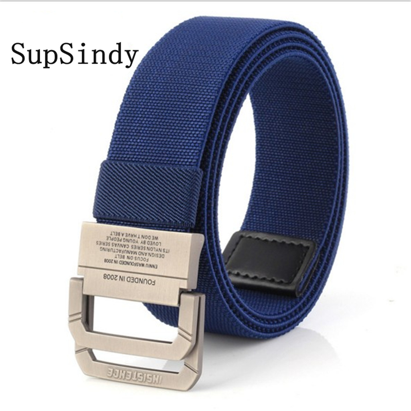 SupSindy Men Canvas Belt Alloy Buckle Double Ring Nylon Elasticity Military Belt Army Tactical Belts For Men Fashion Male Strap