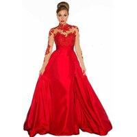 Hot SaleHigh Neck Floor Length Long Sleeve Lace Evening Dress Long Red Evening Dress Robe De