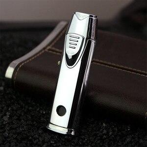 Image 3 - חדש צינור מצית לפיד טורבו מצית כפול שני חרירי עט גז לרסס אקדח אש Windproof מתכת Jet סיגר מצית 1300 C