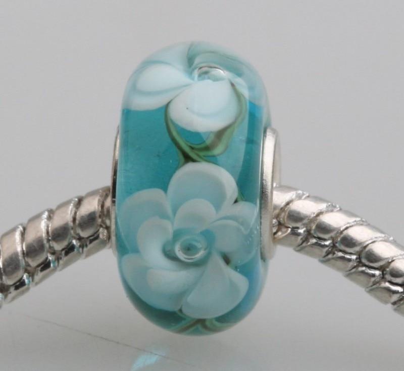 Silver Blue Triangle Lampwork Verre Murano Perle Pendentif cire Collier Boucle D/'Oreille Set