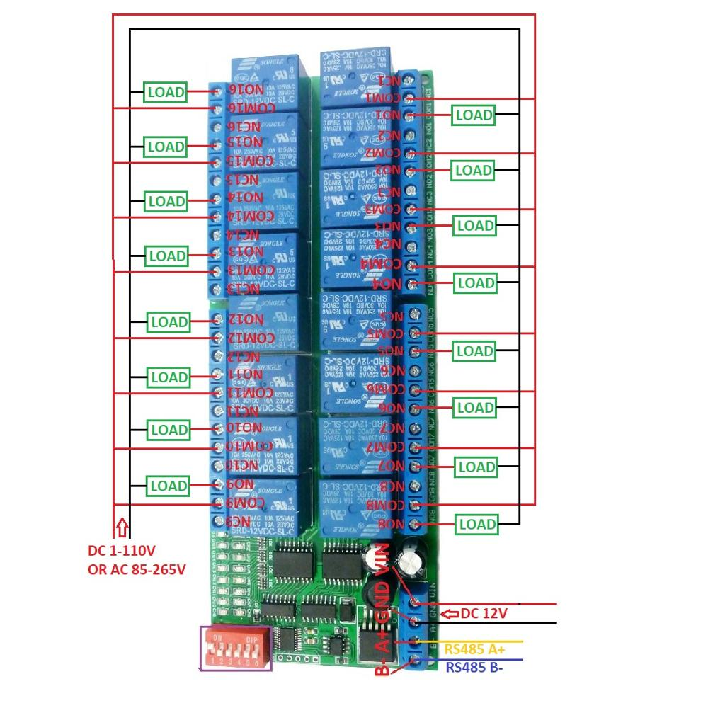 Buy 16ch Dc 12v Rs 485 Modbus Rtu Relay Board Rs485 0 Power Supply Circuit Diagram Control Circuitwiring Belownoteif Not Load Need Another May Be Led Lights Fans Motors