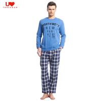 THREEGUN Mens Cotton Long Sleeve Pajama Sets Sleepwear O Neck Lounge Wear For Sleep Tops Pants