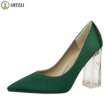 Luxury Brand Designer Blue Evening Party Satin Silk Women Pumps Wedding Bridal Office Lady Shoes Club Sexy Heels Crystal