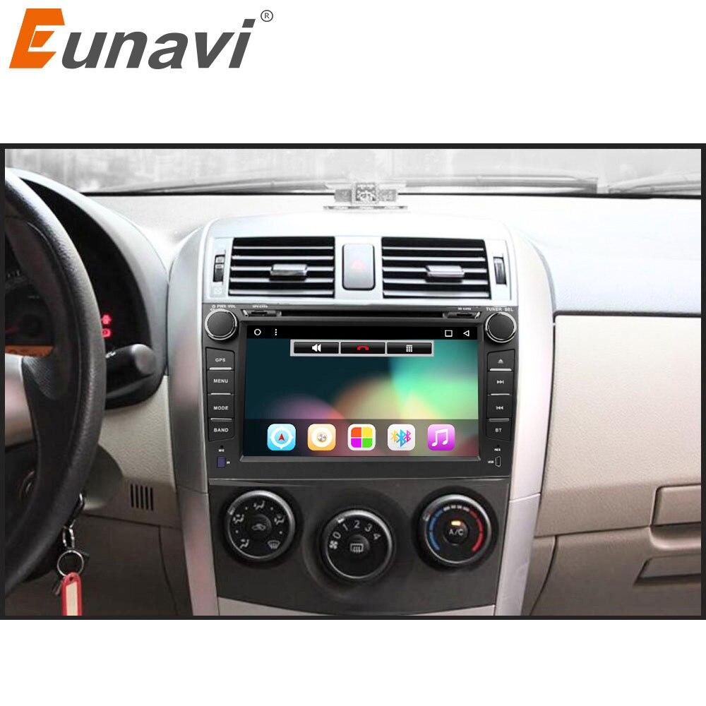 Eunavi 2 din Android 7.1 jogador do carro dvd gps para Toyota Corolla 2007 2008 2009 2010 2011 8 polegada 1024*600 tela rádio estéreo do carro