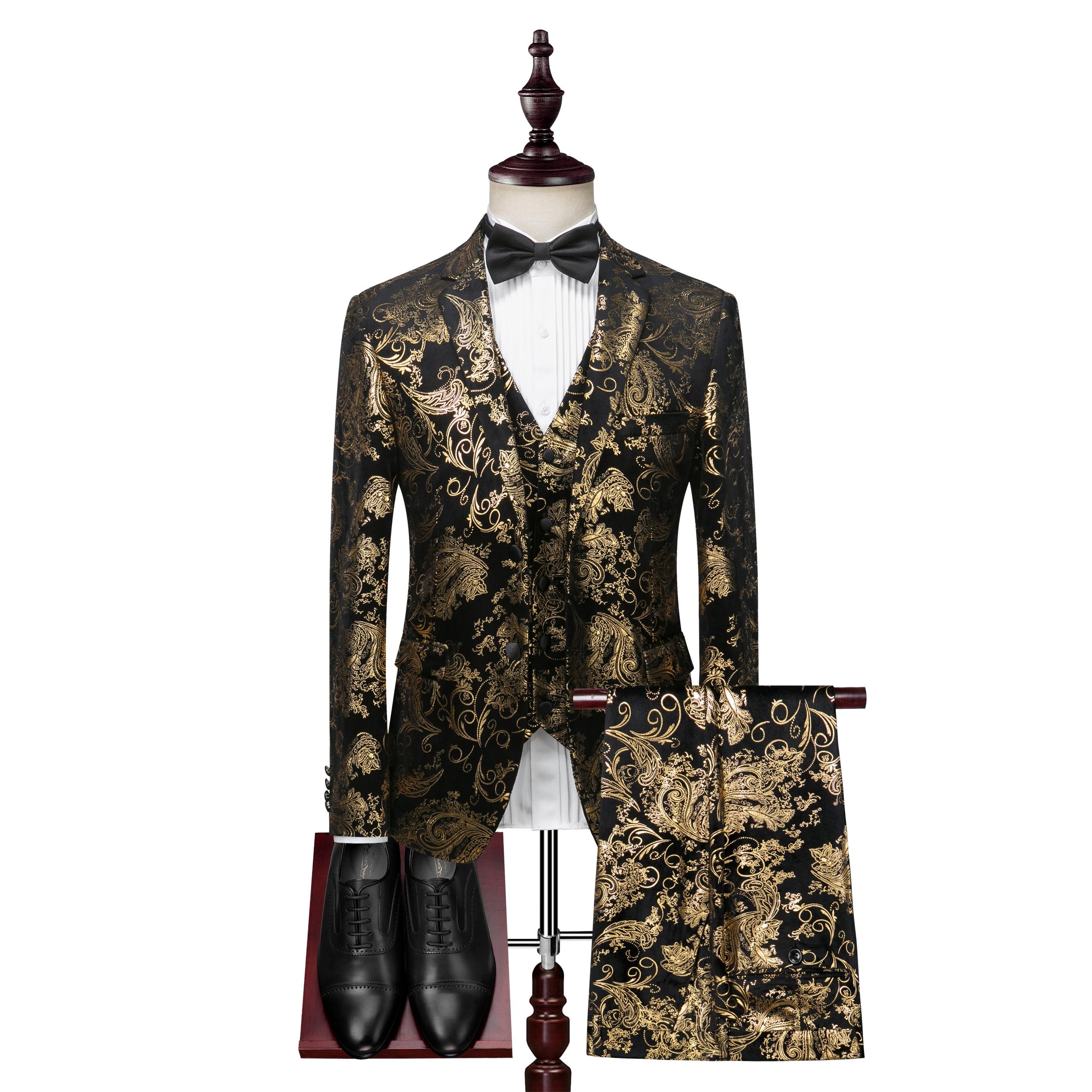 Blazers+Vest+Pants Fashion 3 Pieces Set Black Golden Floral Pattern Slim Fit Mens Casual Suits Dress Suits Stage Costume