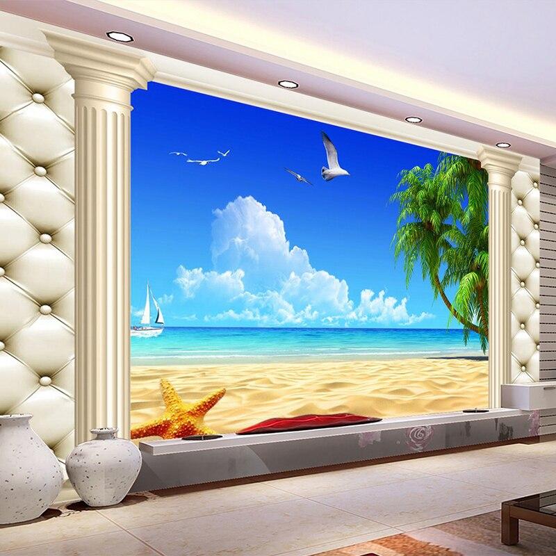 Custom 3D Mural Wallpaper Straw Non-woven Roman Column Sea Beach Landscape Photo Wall Cover For Living Room TV Sofa Backdrop