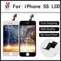 10 pcs grade aaa display lcd para iphone 5s tela sensível ao toque com Nenhum Pixel Morto Substituição Assembleia Digitador de Vidro DHL Livre navio