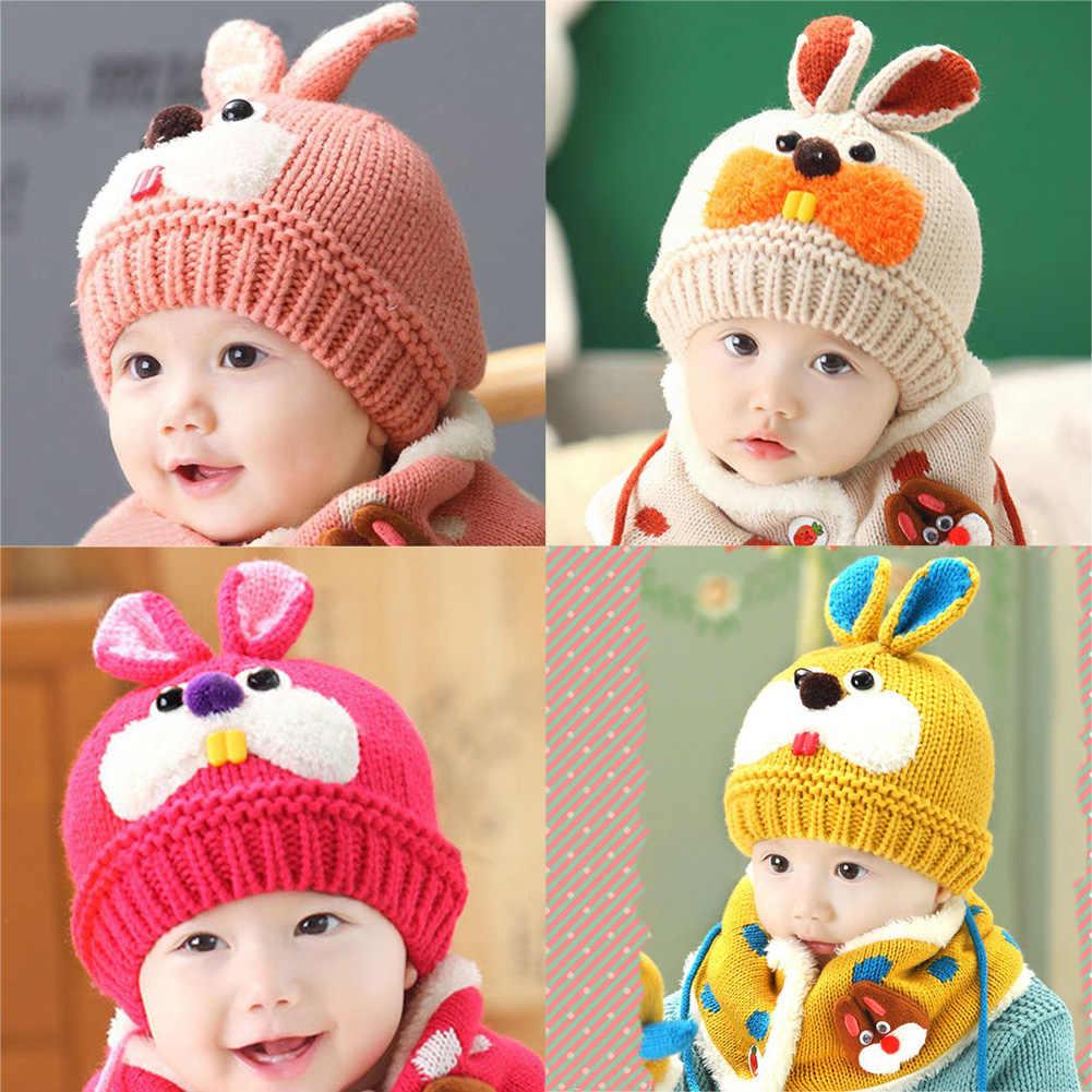 7bf2a5d0907 2018 Winter Warm 2 pcs set Baby Cute Rabbit Hat Soft Knitted Woolen Beanies  Caps