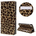 For Sony E5 Glossy Leopard Pattern PU Leather Cover Wallet Stand for Sony Xperia E5