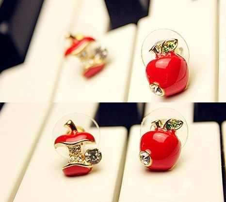 XUBCHC usine prix de gros en alliage de Zinc grande gemme étincelante rouge et vert mignon pomme boucles d'oreilles pour les femmes