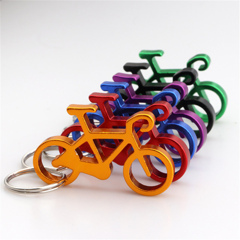 Creative Thickening Bicycle Metal Bottle Opener Outdoor Riding Fitness Club Custom Small Gift Multi-function Key Pendant Keychai
