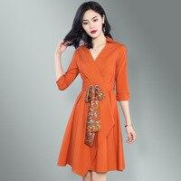 new summer 2018 women cultivate one's morality orange dress show thin v neck waist belt china