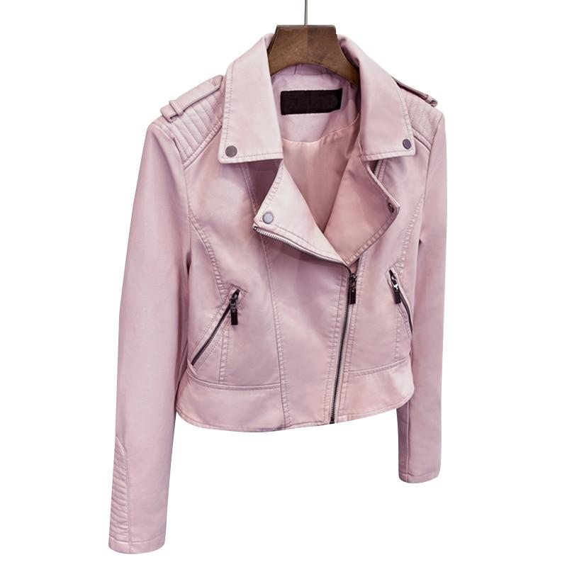 Le printemps de 2017 court dames veste en cuir Ms Imitation peau de mouton en cuir manteau rose dame courte veste S-XXL