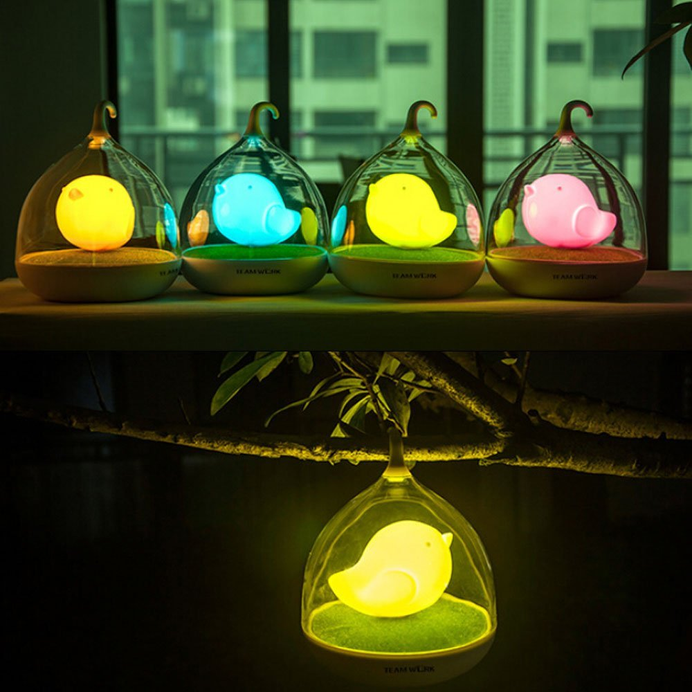 Vibration Touch Sensor Mini Lovely LED Night Light Bird