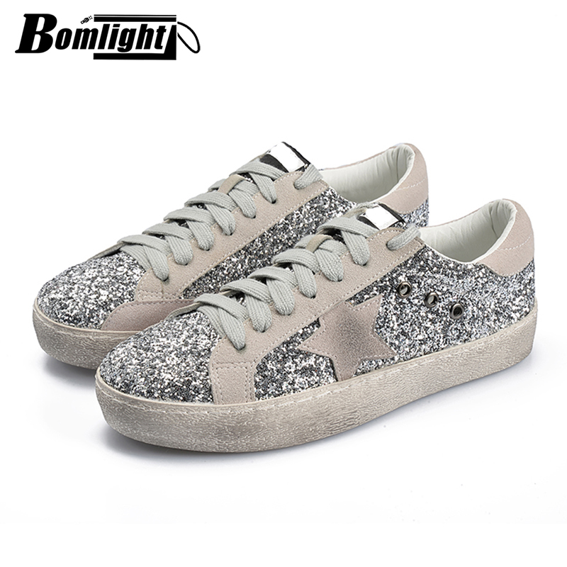 Bomlight 2018 Women Casual Shoes Glitter Leather Do Old Dirty Shoes Mixed  Color Sneakers Women Sequins Star Golden Fleeces Retro-in Women s Vulcanize  Shoes ... e2f3ca29d3ff
