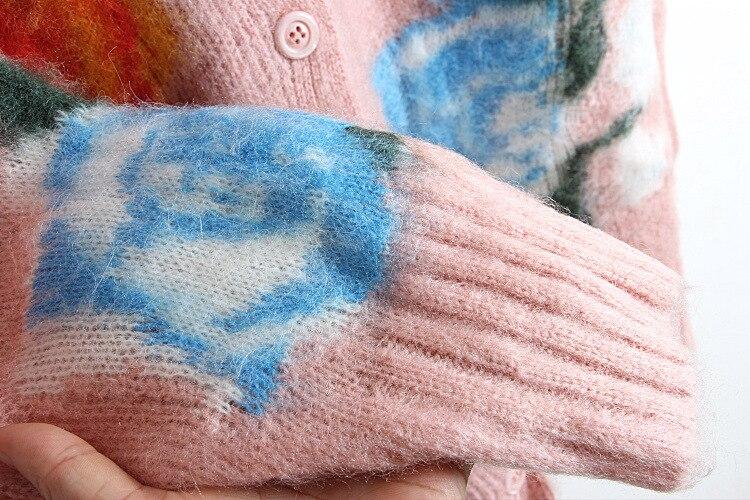Mohair Rosa Lungo Autunno Outwear Maglione Inverno 2018 Motivo Trasporto Monopetto Allentato Floreale Dell'annata Di Del Cappotto Nuovo Cardigan xwqAzIR