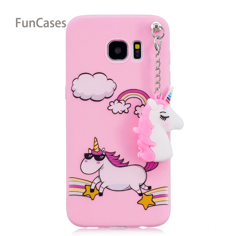 Cute Pendant Phone Case sFor Capa Samsung S7 Edge Soft TPU Phone Case Cellphone Flamingo Flip Case For Samsung Galaxy S7 Edge