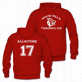 Fashion Winter Full Sleeves Vampire Salvatore 17 Hoodies Mens Two Side Print Mystic Falls Timberwolves Long Sleeve Hoodie Tops