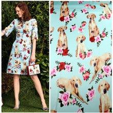 145cm puppy rose print fabric holiday dress scarf satin fabric cheongsam pajamas polyester fabric material wholesale cloth цена