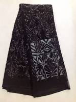 5 yares African Lace Fabric High Quality French Tulle Lace Fabric New Arrival Sequins Lace Fabric In Black Lace AMY423b-2