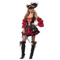 Deluxe Traje Do Pirata das mulheres Cruel Capitão Dos Mares Tesouro Wench Traje Red & Black Layered Corset Vestido Sexy Trajes de Halloween