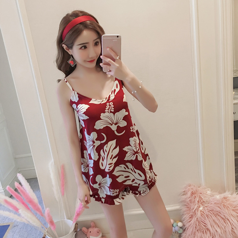 Women Sleeping Wear Summer Cotton   Pajama     Sets   Flower Print Spaghetti Strap Cami Top and Ruffles Hem Shorts Two Piece   Pajama     Set