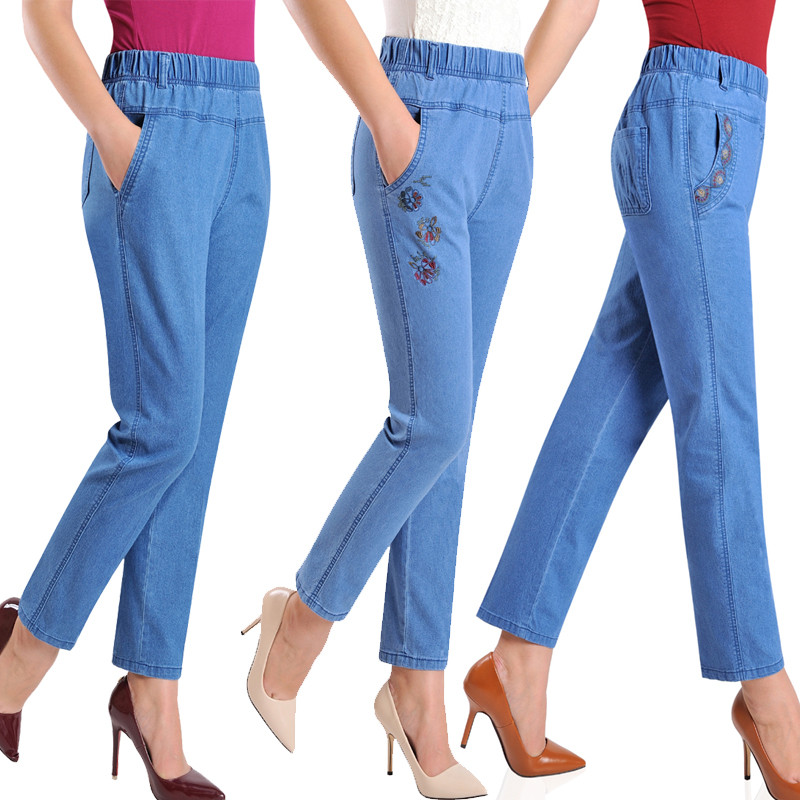 Jeans   Women Autumn Denim Breeches Embroidery   Jeans   Plus Size 5XL High Waist Elasticity Casual Pants Feminine   Jean   Calf LJ0972