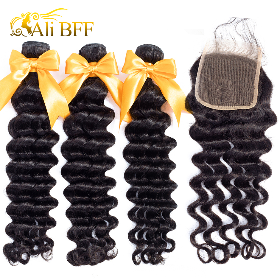 ALI BFF Loose Deep Wave Bundles With Closure Remy Human Hair Bundles Malaysian Hair Weave Bundles With Closure