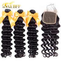 ALI BFF mechones sueltos de ondas profundas con cierre Remy extensiones de cabello humano mechones extensiones de pelo ondulado mechones malayos con cierre
