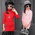 Brand Autumn Girls Sweater Children's Top Clothes Cotton Outwear Long Solid Korean Kids Shirts Cute Girls Shirt Sweaters 6-15T