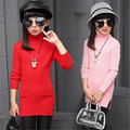 Marca Outono Meninas Camisola das Crianças Top Roupas de Algodão Outwear Longo Sólida Coreano Camisas Dos Miúdos Meninas Bonitos Camisa Blusas 6-15 T