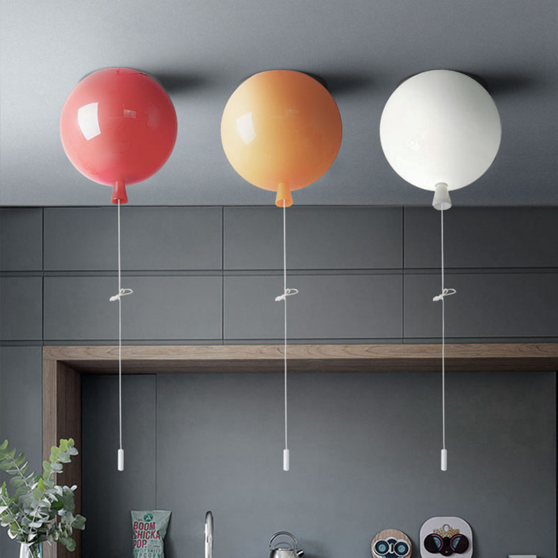 Modern Simple PVC Balloon Surface Mounted Red / White / Orange Roof Suction Ceiling Lamp pull Down Switch for Kids ChildrenModern Simple PVC Balloon Surface Mounted Red / White / Orange Roof Suction Ceiling Lamp pull Down Switch for Kids Children