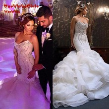 custom made charming mermaid wedding dress with train 2017 sweetheart beaded long bridal marry gowns vestido de noiva