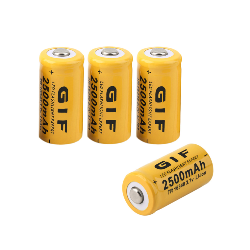 【ᗑ】new 4 Pcs Set 16340 Battery ᗐ 3 7v 3 7v 2500mah Rechargeable Liion Battery ⊹ For For Led