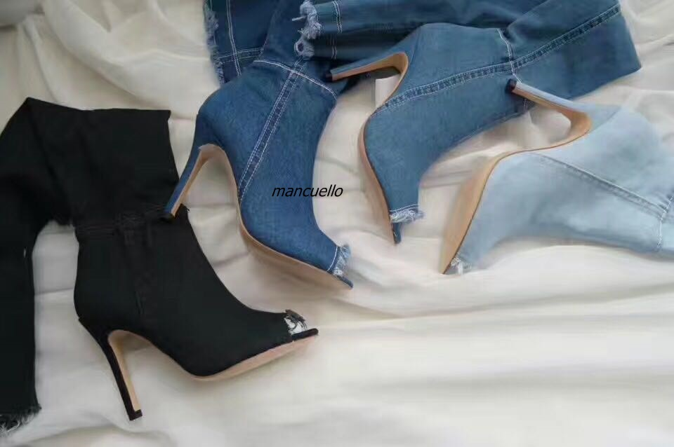 Fancy Design Denim Peep Toe Long Boots Women Light Wash Jeans Booties Sexy stiletto Heel Keen High Sandals Hot Selling fashion women s sandals with metal and stiletto heel design