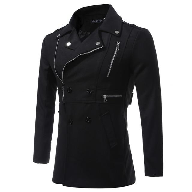 Novelty Designer Man Black Wool Coat Fashion Slim Turn-Down Collar Coat A1293