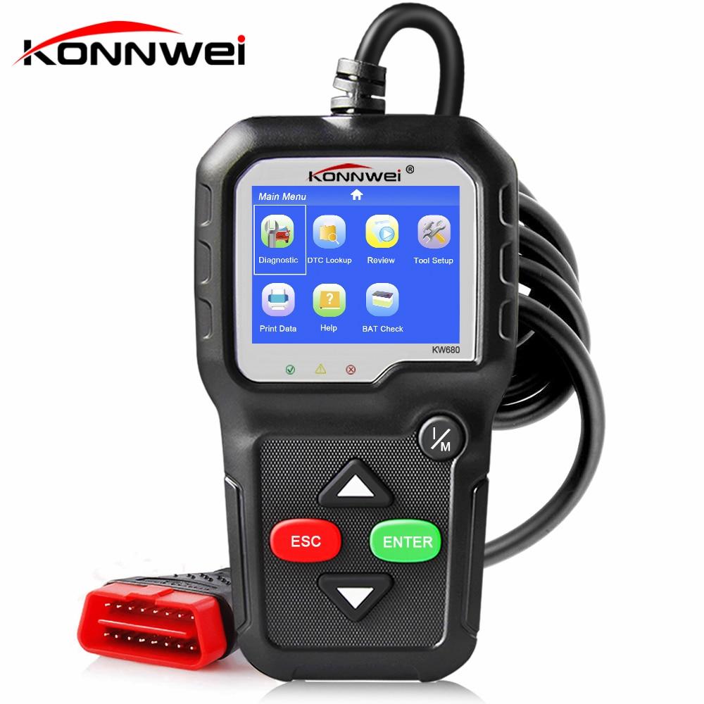 OBD2 Automotive Scanner OBD 2 Strumento di Diagnostica Auto KONNWEI KW680 ODB2 Motore Del Lettore di Codice Diagnostico Auto Scanner Migliore ELM 327