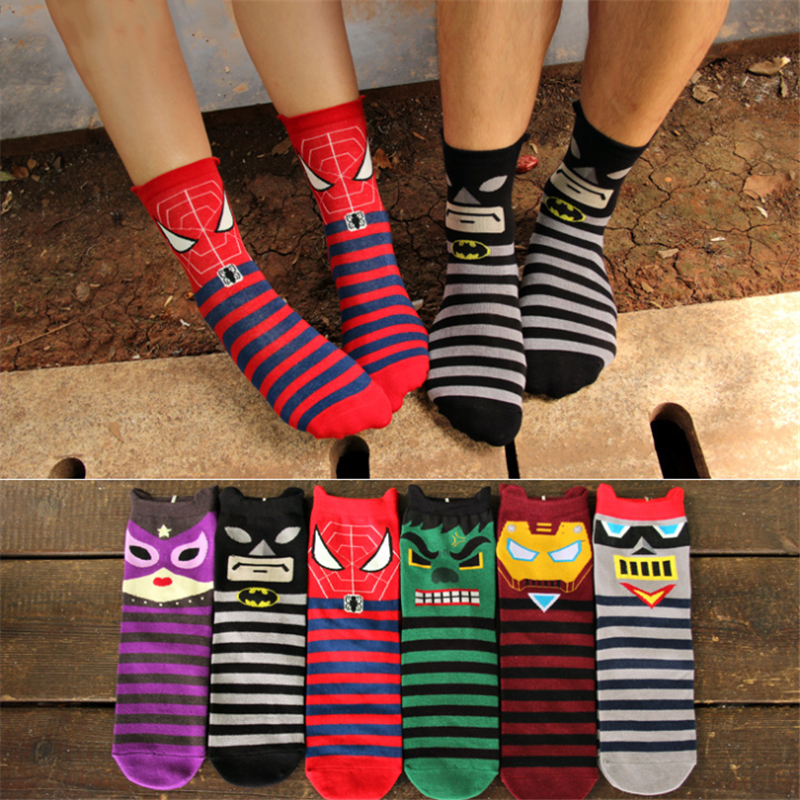 New version Marvel striped print   socks   cotton Iron man Spider Man autumn men women red cartoon cute Q version casual funny novel