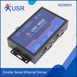 USR-N520 Industriële Dubbele Seriële Apparaat RS232/RS485/RS422 Ethernet Server Converters Met modbus/DHCP
