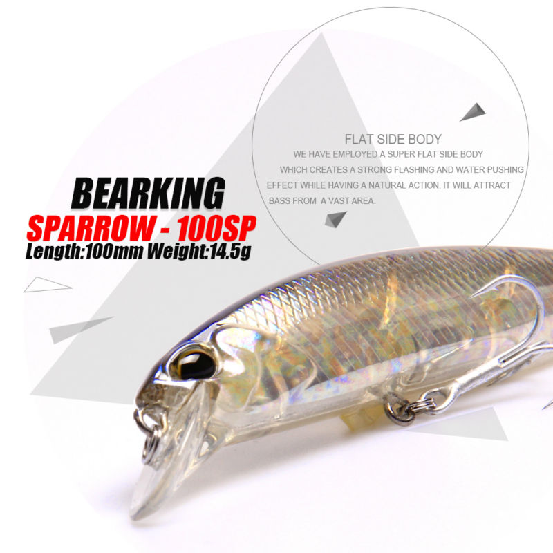 Retail Bearking 2016 hot model fishing lures hard bait 7color for choose 100mm 14.5g  minnow,quality professional minnow