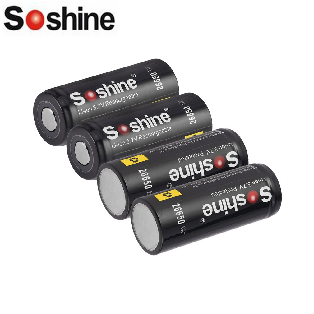 Soshine 26650 Battery 5500mAh 3.7V 26650 Protected Rechargeable Li-ion Batteries Cell PCB 26650 Batteria стоимость