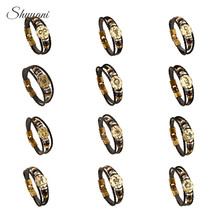 Фотография Fashion Bronze Alloy Buckles 12 Zodiac Signs Bracelet Constellations Leather Bracelet Wooden Bead Charms Jewelry